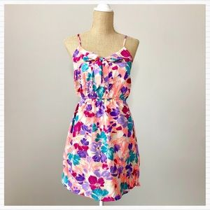 Pink Ruffle Floral Dress with Bow Sundress F21